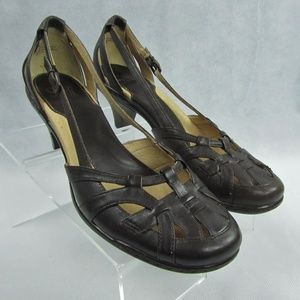 Sofft 10M Brown Leather Open Side Pumps Heels